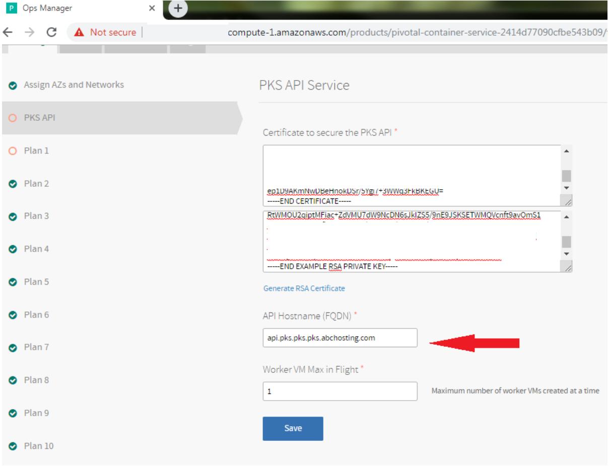 Configuring PKS API 1