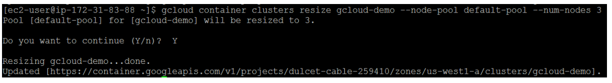 Resizing a cluster 2